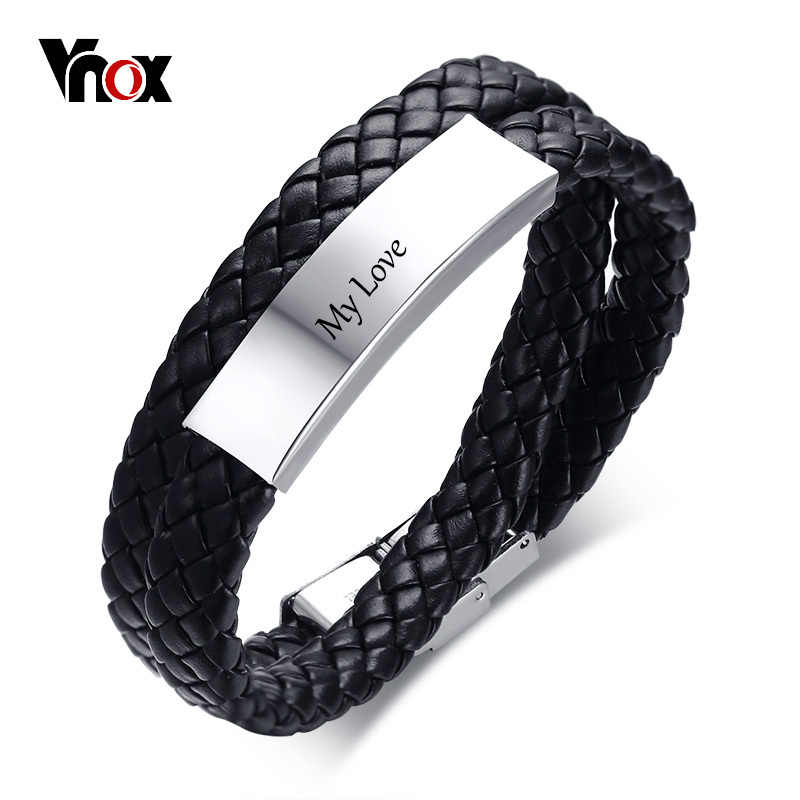 Vnox 11mm Free Engraving ID Bracelet for Women Double Circle Braided Leather Identification Bangle Casual Female Jewelry
