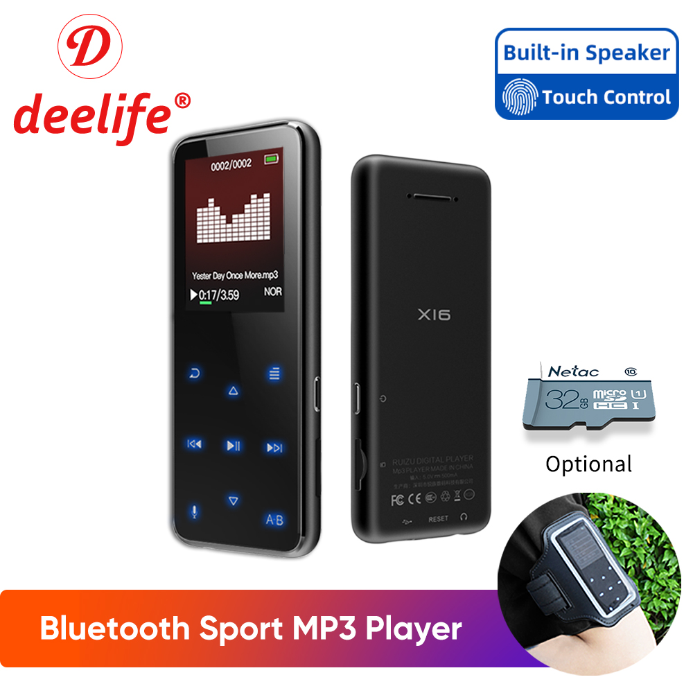 Deelife Sports MP3 Player with Bluetooth FM Radio Running MP 3 Music Players(China)