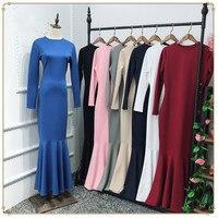 Muslim Women Fashion Fishtail Bottom Dresses Arab Women Maxi Dress Abaya Robes