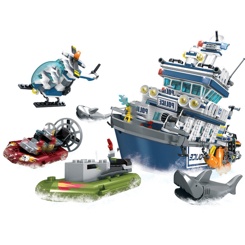 Image 4 - 869+pcs City Police Patrol Boat Helicopter Building Blocks Action Figures Compatible Technic Bricks Toys For ChildrenBlocks   -
