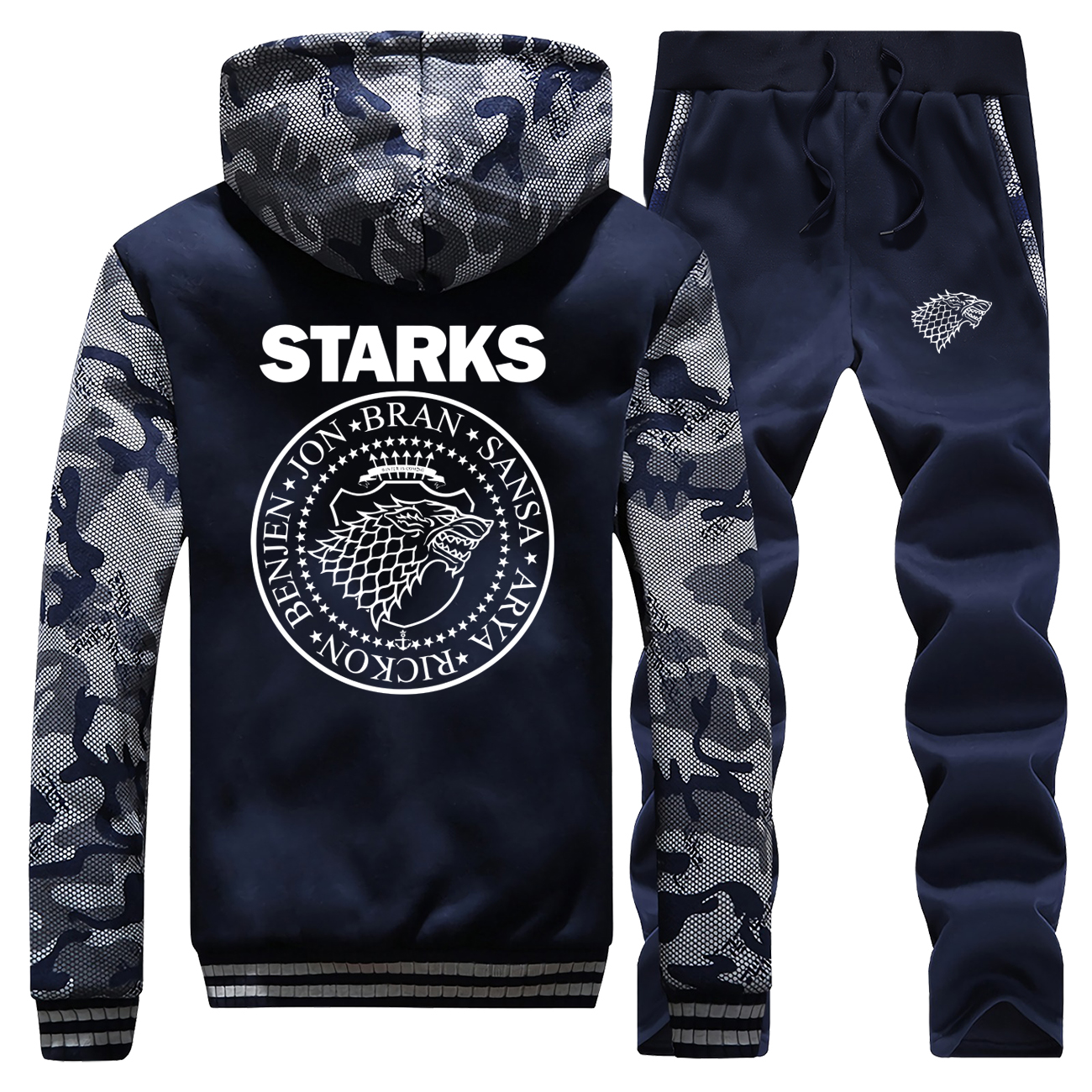 Hooides Men Camouflage Coat Thick Game Of Thrones Hot Sale Winter Casual House Of Stark Sportswear Long Sleeve+Pants 2PC Suit