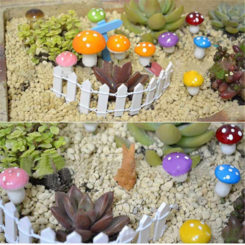 Baru 10 Pcs Mini Palsu Jamur untuk Mini Tanaman Pot Fairy DIY Dekorasi Taman Rumah Boneka untuk Festival Dekorasi