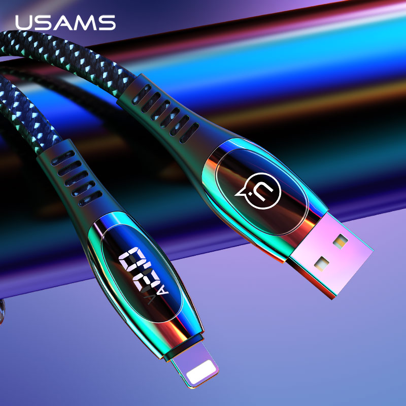 USAMS LED Digital USB Cable for iPhone XS Max XR X 2A Fast Charging Data Cable Nylon Braided Cord Wire for iPhone 8 7 iPad Cable