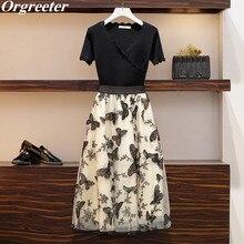 Retro 3D Black butterfly Embroidery Mesh Mid-length Skirt and Black V-neck Hollow Short Sleeve Knitt