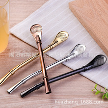 kitchen accessories Stainless steel filter sundries tea soup suction spoon 304 gold-plated tableware