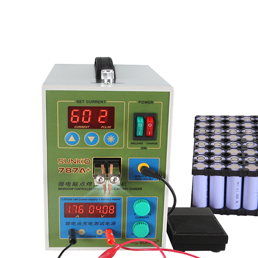SUNKKO LED Pulse Battery Spot Welder 787A+ Spot Welding Machine Micro-computer 18650 Micro Welding With LED Light +Battery Clamp