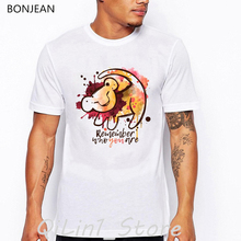 Remember who you are letter print tshirt camisetas hombre the king lion cartoon t-shirt men harajuku kawaii clothes streetwear