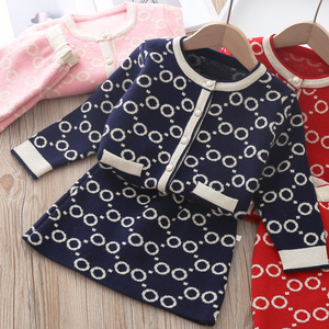 2020 New Winter Girls Clothes Circle Dot Long Sleeve T-shirt And Skirt Two Pieces Spring Kids Clothing Girls Knitted Sweater Set(China)
