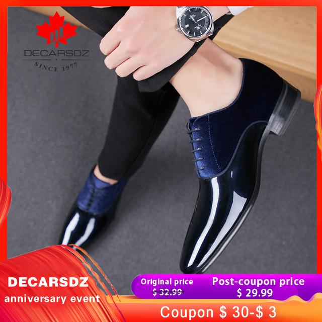 Men Formal Shoes 2019 Autumn & Winter Brand Wedding Dress Shoes Men New Suede Footwear Black Fashion Design Leather Men's Shoes