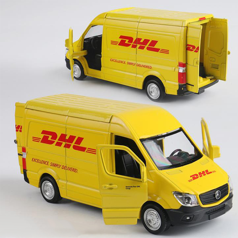 Simulation 1/36 Alloy DHL Truck Diecasts Car Toy Metal Vehicle Toy Car Model Pull Back Van Car Model For Child Collection GIFT
