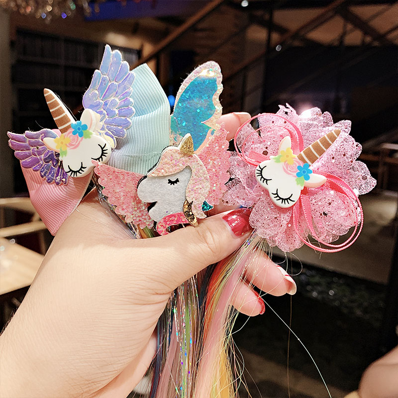 New Girls Cute Cartoon Unicorn Colorful Wigs Hairpins Princess Sweet Headband Hair Clips Barrettes Kids Fashion Hair Accessories