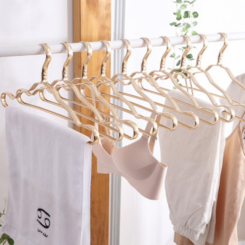 10Pcs Aluminium Alloy Clothes Coat Hanger Durable Metal Anti-slip Dress Clothing Towel Hanger Space Saving Wardrobe Storage Rack