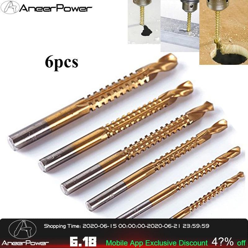 6pcs Drill Bit Carbide Tip HSS High Drill Bit Saw Set Metal Wood Drilling Hole Tools Drill Titanium Coated Woodworking