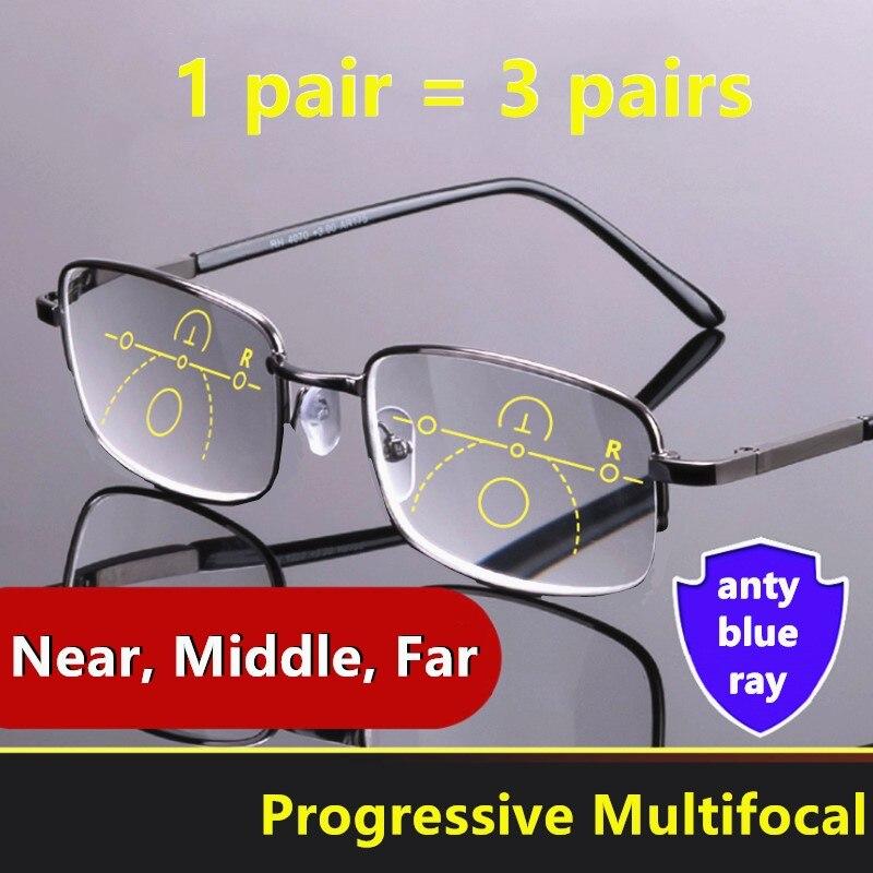 Men Multifocal Reading Glasses Progressive Bifocal Near Far Anti Blue Ray Presbyopic Glasses Magnifying Women Black Gafas Cheap