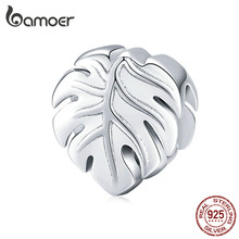 Sterling 925 Silver Metal Charm for Original Brand Bracelet & Bangle Plant Leaf Monstera Deliciosa Popular Jewelry(China)