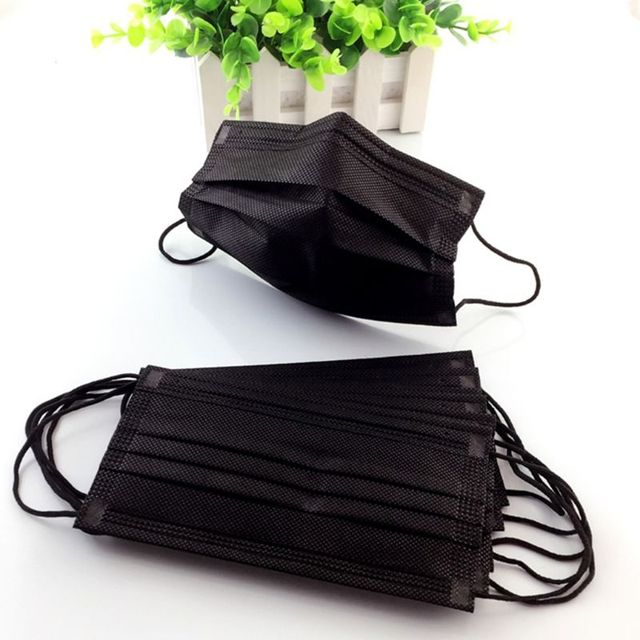 50PCS Mouth Mask Disposable Non-Woven Black Face Mouth Masks 3 Layer Anti-Dust Activated Anti Pollution Mouth-muffle 17.5x9.5cm 1