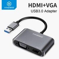Хагбис USB3.0 к HDMI VGA адаптер 4K HD 1080P мульти-дисплей 2-в-1 USB к HDMI конвертер аудио видео кабель для Macbook компьютера