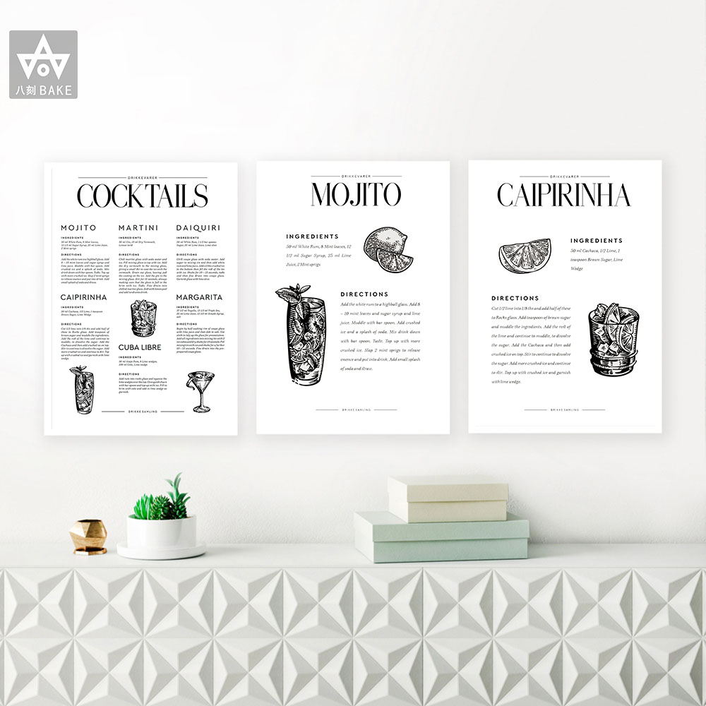 Cocktails Classics Recipe Print Drinks Bar Poster Cocktail Dorm Decorations Picture Art Canvas Painting Gift Kitchen Wall Decor