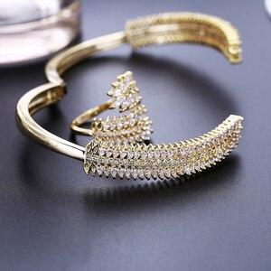 Image 3 - Luxury Cubic Zirconia Bangle Ring Set Women Wedding Jewelry Charm Opening Copper Bracelet XIUMEIYIZU Plating Jewelry Wholesale