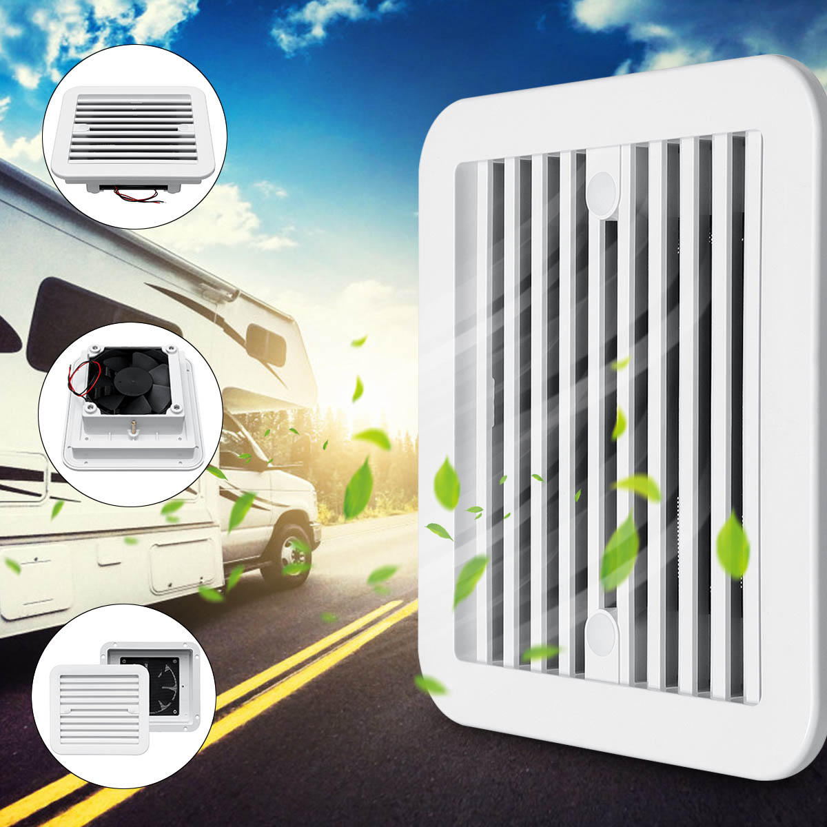 12V 3 Types Dust-proof White Ventilation Fan Caravan Motorhome Side Exhaust Air Outlet Vent For RV Motorhome Trailer Boat