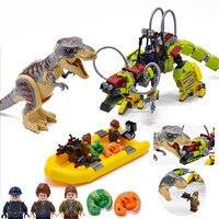 New Jurassic World Movie Dinosaur Tyrannosaurus T. rex vs Dino Mech Battle Transport Building Blocks 75938 Toys Children Gifts