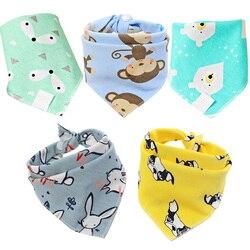 Babadores para bebês bandana 5 pçs/lote, babadores de bebê, lenço, panos para saliva para recém-nascidos, infantil, bebê, meninos, meninas, crianças, triângulo dos desenhos animados, algodão, babador