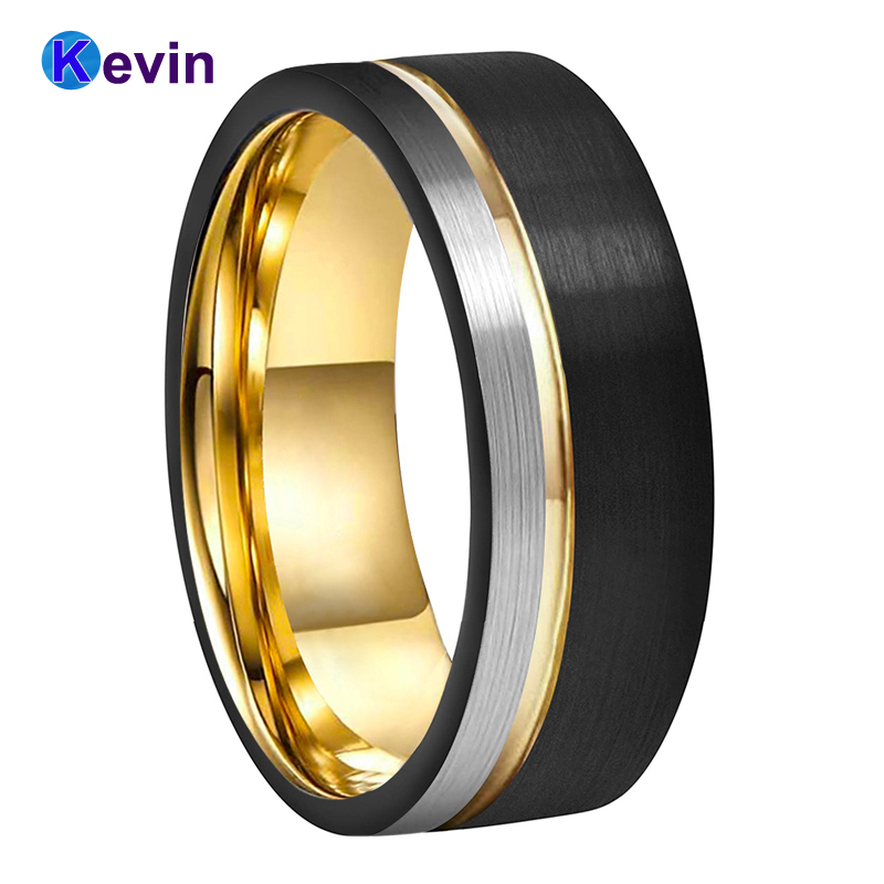 Mens Womens Wedding Band Tungsten Carbide Ring Black Rose Gold With Offset Groove And Brush Finish 5