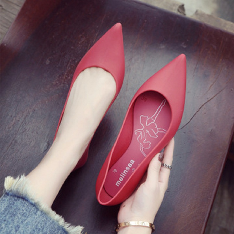 2020 Women Pointed Toe Flat Spring Ladies Slip on Office Career Red Shoe Shallow Female Casual Fashion Comfortable Jelly Shoes
