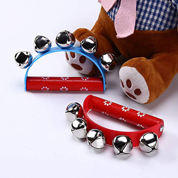 ABUO-10Pcs Vivid Color Jingle Bells Sleigh Bells Instrument On Wooden Handle For Baby Kids Children Musical Toys