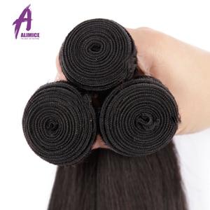 Image 4 - Alimice Indian Straight Menselijk Haar Bundels Met Sluiting 3 Bundels Hair Extensions Met Sluiting Remy Lace Sluiting Met Bundels