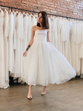 Simple Ivory Boho A-Line Wedding Dresses 2019 Sweetheart Neck Sleeveless Tulle Bridal Gowns Short Ankle-Length robe de mariee