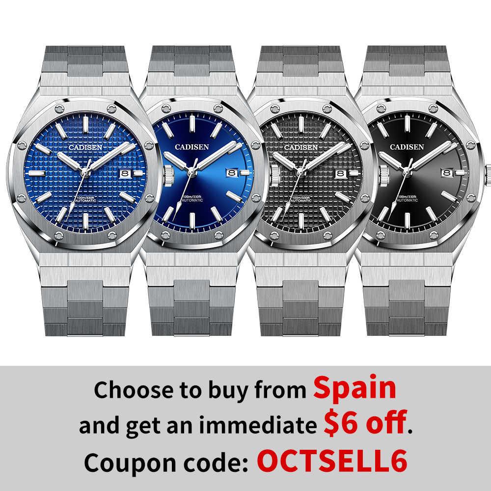 CADISEN تصميم العلامة التجارية الفاخرة الرجال الساعات الميكانيكية التلقائي الأزرق ساعة الرجال 100 متر مقاوم للماء الأعمال عادية مضيئة ساعة اليد