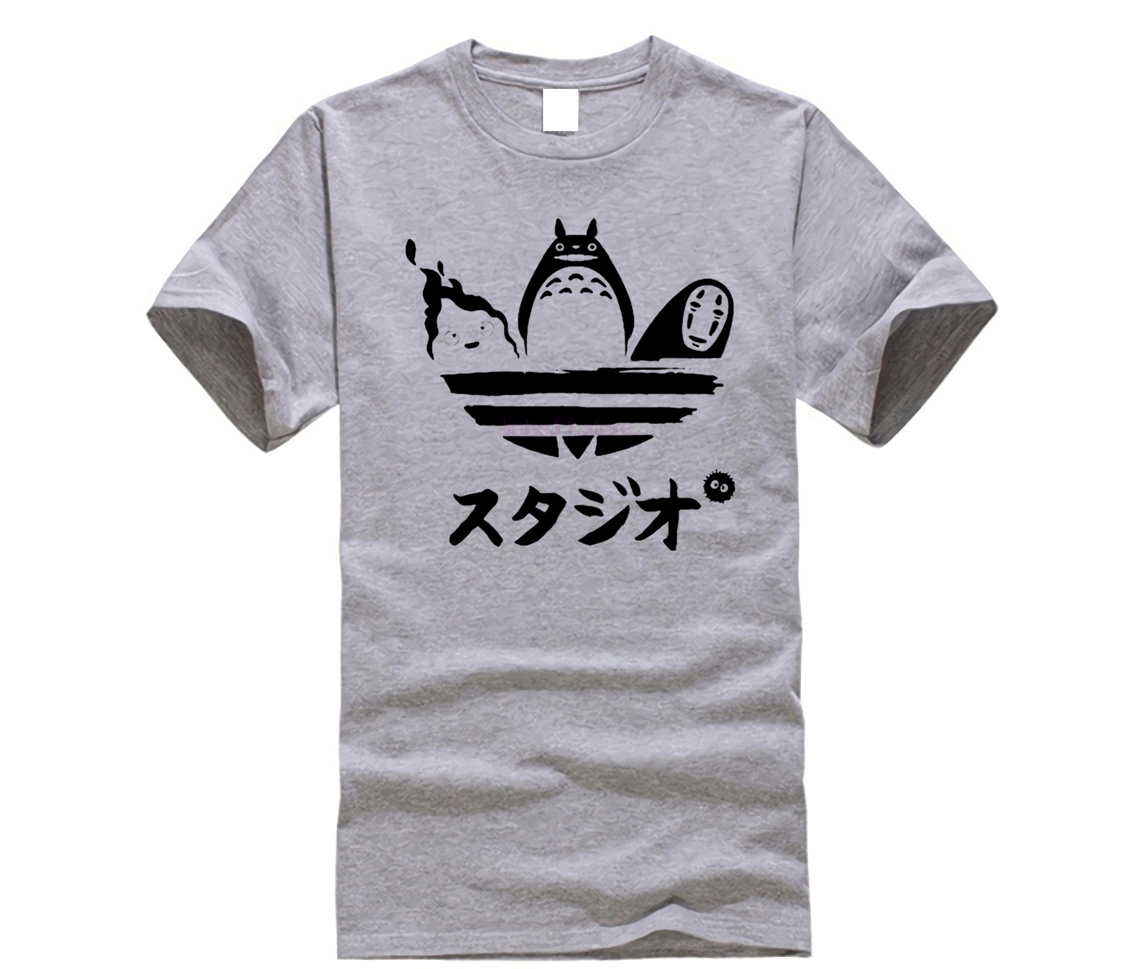 Harajuku Tees Cartoon Totoro Spirited Away T Shirt No Face Faceless Man Tshirt Men Short Sleeve Cotton T-shirt