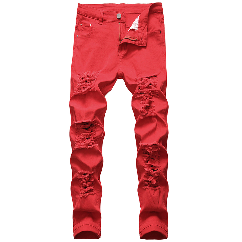 Distressed Jeans Straight Tight-fitting Trousers Men Denim Trousers Male Jeans Fashion Designer Brand Red White Plus Size