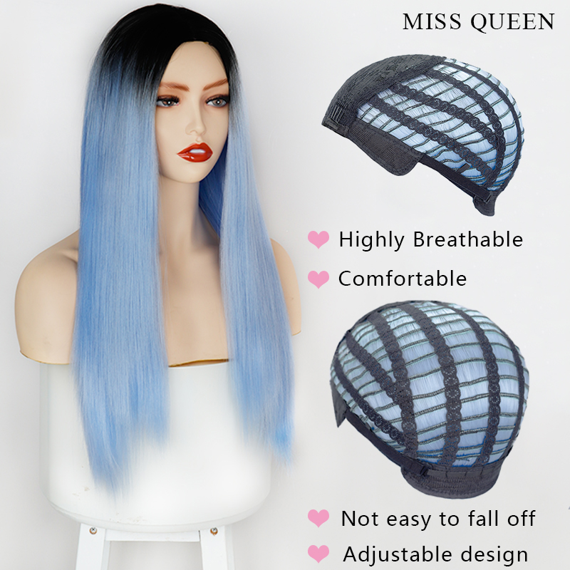 Long Straigh Ombre Blue Green Synthetic Wigs For Women 24 inch Black Purple Wigs can be Cosplay Heat Resistant Wigs MISS QUEEN