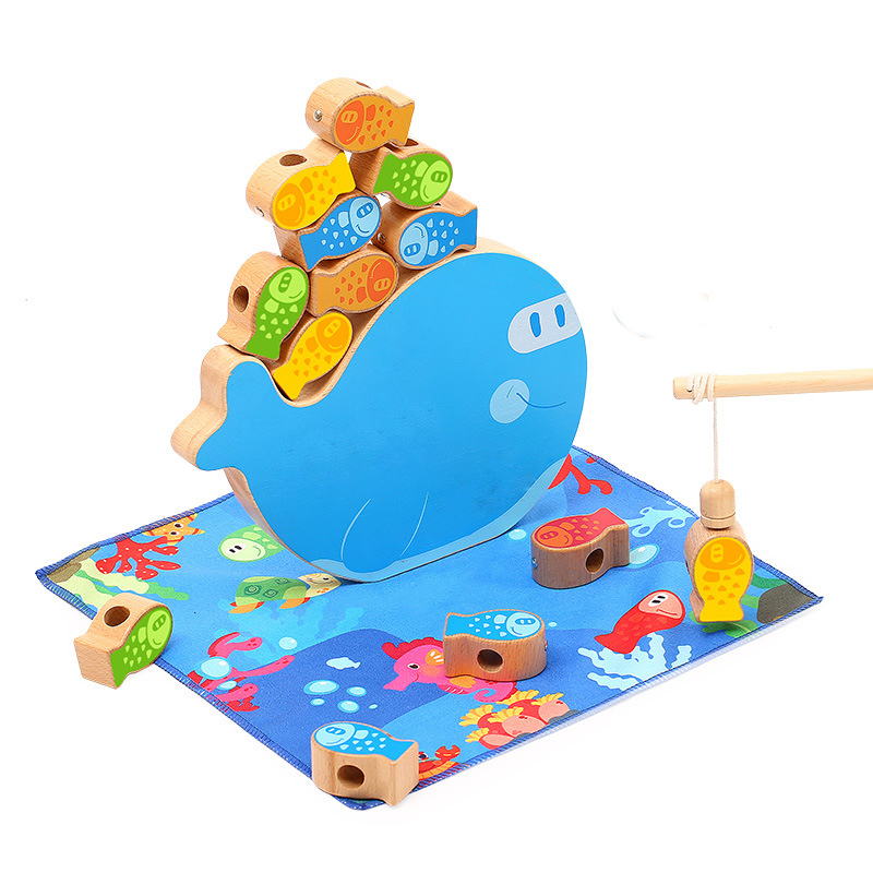 Baby Wooden Montessori Toys Multifunction Balancing Frame Fishing Beading Wood Blocks Toy Kids Stringing Thread Beads Game Toys