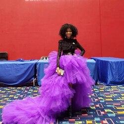 Moda púrpura alto bajo tul faldas elásticas mujeres niveles volantes largo mujer adulto Formal tutú falda 2020 falda de tul nupcial