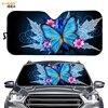 Blue Animal Butterfly Universal Car Windshield Sunshade Sharingan Design Auto Sun Visor Covers UV Reflector Car Accessories