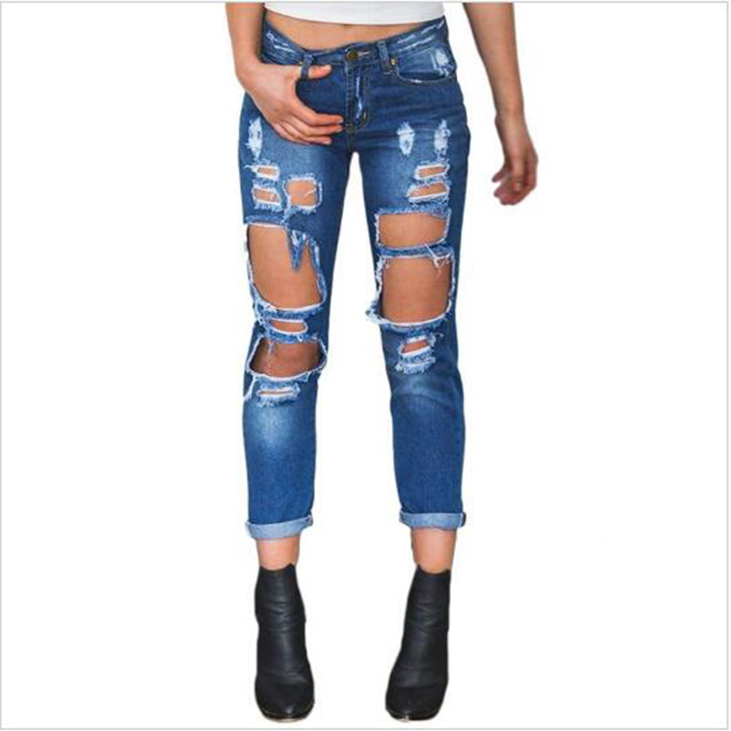 Boyfriend Casual Jeans Hole Jeans New Women Waist 2019 Pants Low Fall Harem Ripped Summer Pocket Fashion Style Denim Cotton