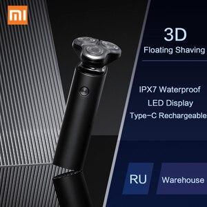 Image 1 - Xiaomi Mijiaไฟฟ้ามีดโกนสำหรับชายเคราผมTrimmerชาร์จ3Dหัวเปียกเครื่องโกนหนวดล้างทำความสะอาดได้ใบมีดแบบDual
