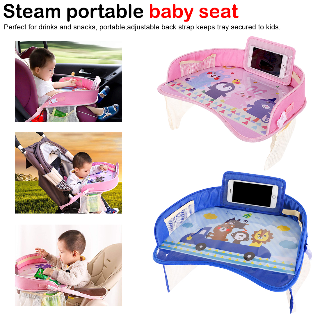 Portable Stroller Accessories Baby Car Safety Seat Tray Storage Waterproof Kids Toys Stroller Holder Organizer Food Drink Table