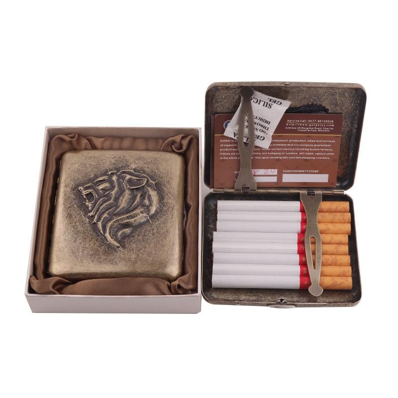 High Quality Cigarette Case 20pcs Vintage Retro Metal Cigarette Box Cigarette Accessories Holder Storage Box