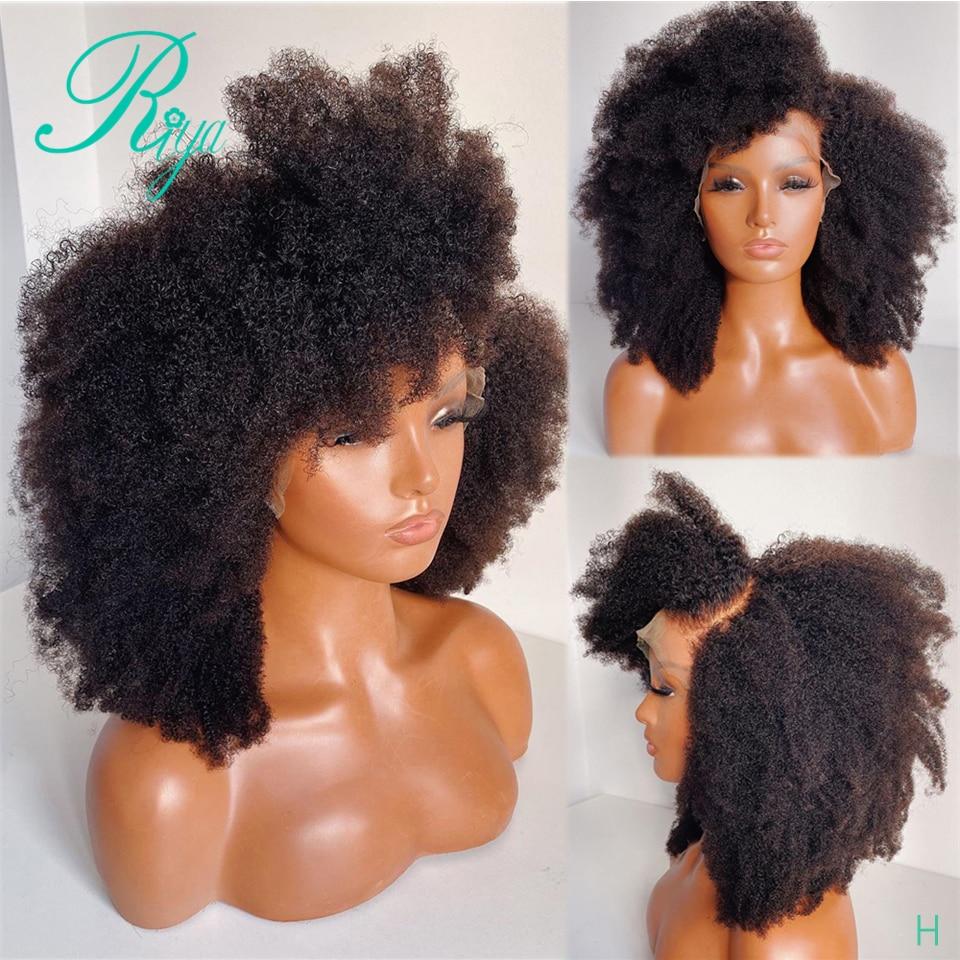 13x4 кружева передние человеческие волосы парики для чернокожих Для женщин с ребенком волосы Рэми афро кудрявый вьющиеся индийские застежка ...