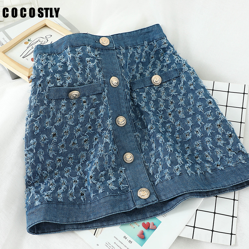 Skirts Womens Denim Mini Skirt Fashion Summer High Waist Korean A-line Blue Skirt Package Hip Jeans Saia