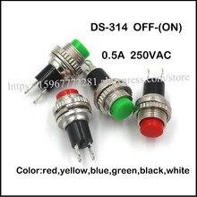 Przełącznik mini przycisk DS-314 OFF-(ON) 0.5A 250VAC 10mm przełącznik Rocker kolor czerwony żółty niebieski zielony biały czarny 100 sztuk