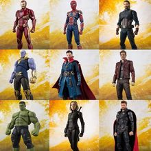 SHF Avengers Endgame 4 Infinity War Thor Hawkeye Black Widow Thanos Iron PVC Action