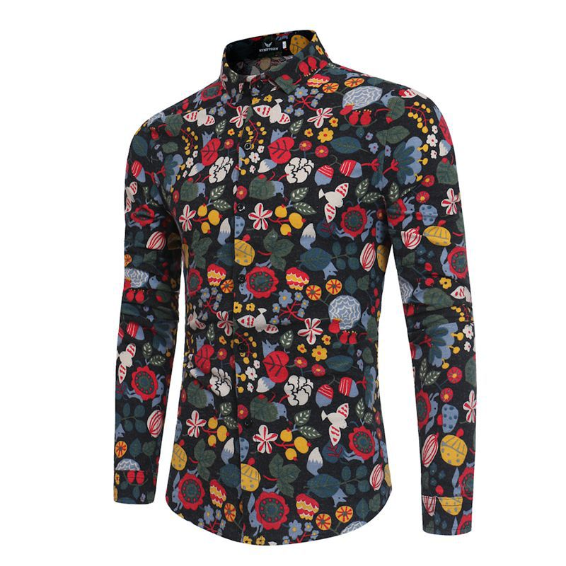 Supply Of Goods Large Size Autumn And Winter New Style Men Long Sleeve Print Shirt MEN'S Wear Flower Shirt Black And White With