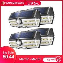 4 حزمة 40 LED أضواء الشمسية LITOM CD182 جهاز استشعار حركة للأماكن الخارجية لوحة طاقة شمسية عالية الكفاءة مصباح IP66 لوز الشمسية Led الفقرة الخارجية
