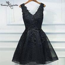 Homecoming-Dresses Graduation-Dress Short Party-Gowns Vestido-De-Fiesta Lace Black Appliques