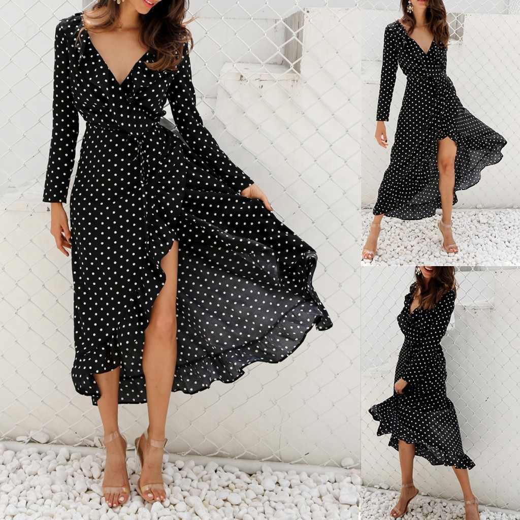 Kleid Frauen Elegante Rüschen Unregelmäßige Tupfen Gedruckt Dunklen V-ausschnitt Langarm Kleid Urlaub Paar Dating Damen Kleider
